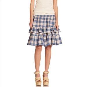 Ralph Lauren Blue Plaid Ruffled Skirt